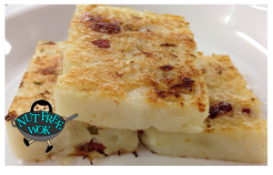 """Turnip cake """"Lo Bak Go"""" made with a mixture of grated and diced daikon yields perfect results."""