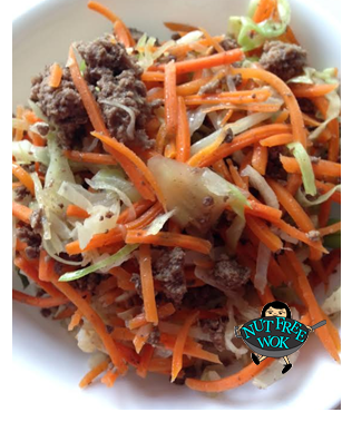 Pictured: Ground bison, Carrots & Cabbage over brown rice