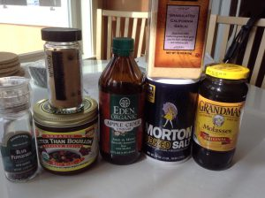 Ingredients used for Soy-Free Soy Sauce Recipe