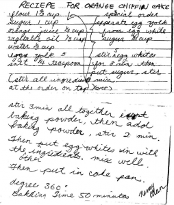 A scan of Nancy's recipe from the late '70s, early '80s