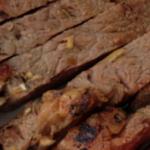 close up of sliced rib eye steaks