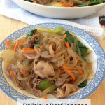 Delicious Beef Japchae, A Korean Glassy Noodle Stir Fry