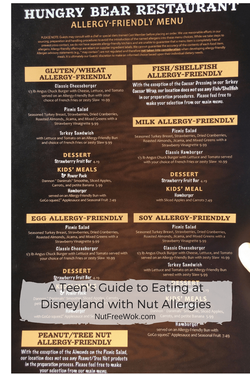 Hungry Bear Menu Teen's Guide Disneyland Nut Allergies