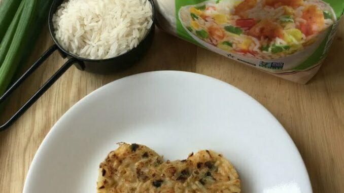 A bacon fried rice cake by Nut Free Wok