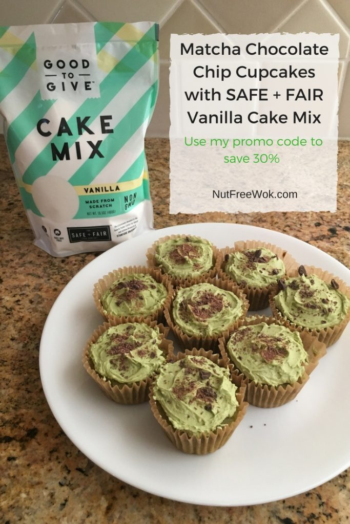 Matcha Chocolate Chip Cupcakes with a package of vanilla cake mix and promo code alert