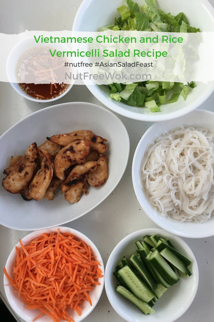 Ingredients for Vietnamese Rice Vermicelli Noodle Salad are ready for assembly