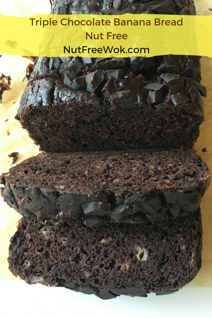 Slices of Triple Chocolate Banana Bread by NutFreeWok.com