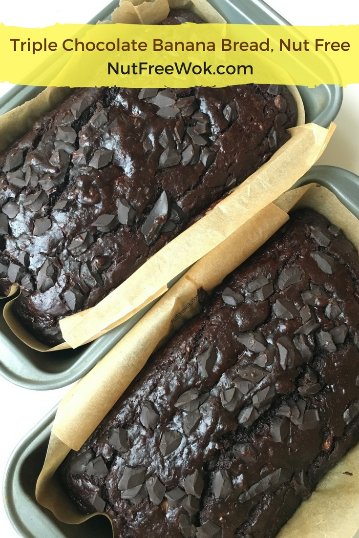 two loaves of triple chocolate banana bread by NutFreeWok.com
