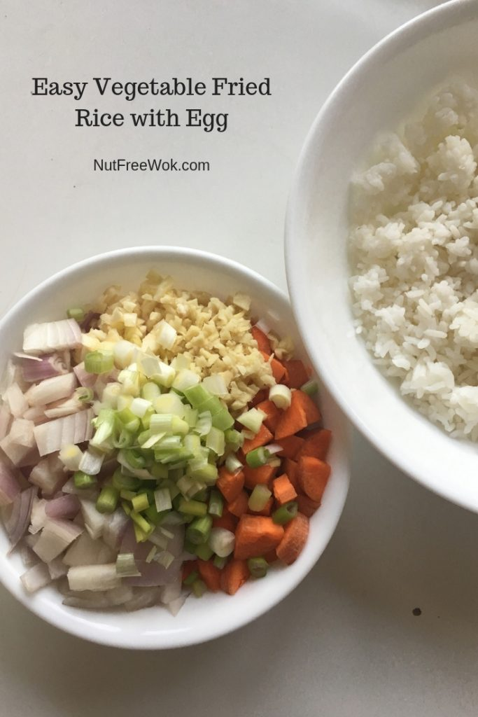 Easy Vegetable Fried Rice with Egg ingredients chopped and ready to use.