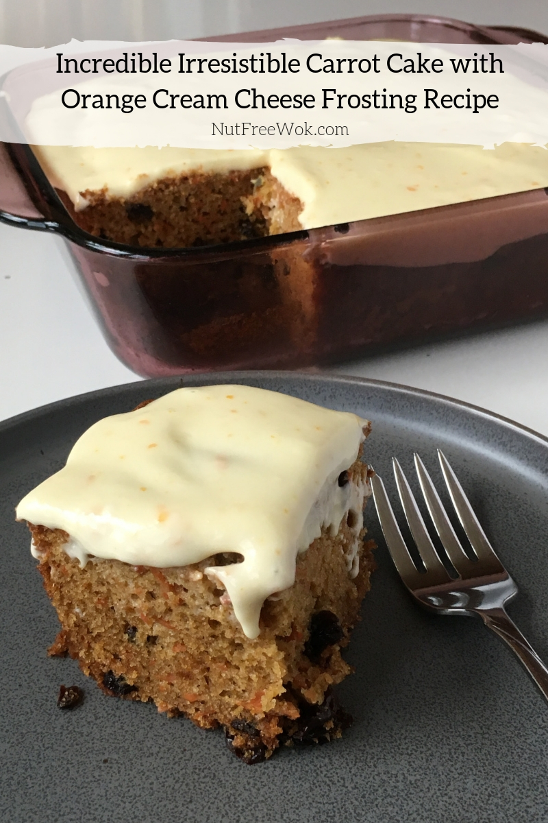 Nut Free Carrot Cake with Orange Cream Cheese Frosting Recipe by Nut Free Wok