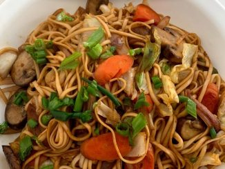 cooked yakisoba stir fry is ready to eat